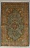 A rug, old silk qum 212 x 140 cm