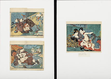 A set of 10 + 9 japanese erotic woodcuts 19th/20th century.