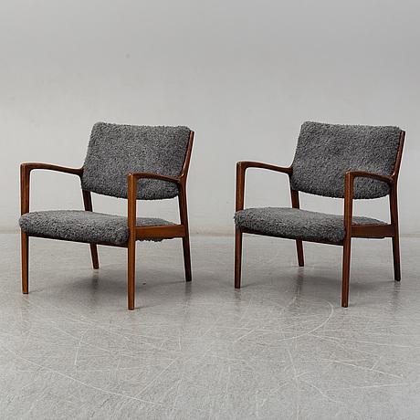 A pair of easy chairs by karl erik ekselius, joc vetlanda, sweden