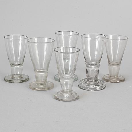 Six 19th century glasses.