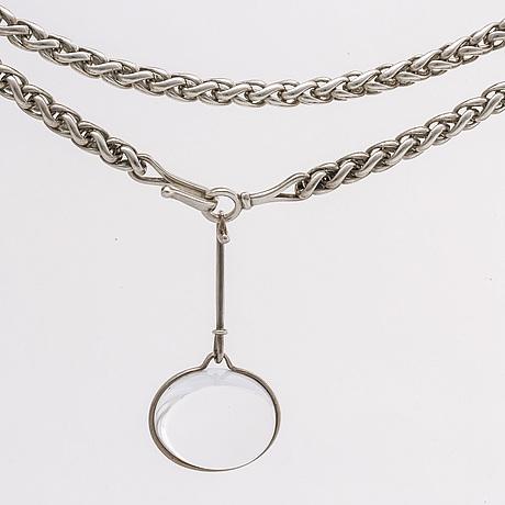 Georg jensen pendant no 311c and chain no 294 sterling silver, 1 rockcrystal approx 3,5 x 2,5 cm design torun bulow hube