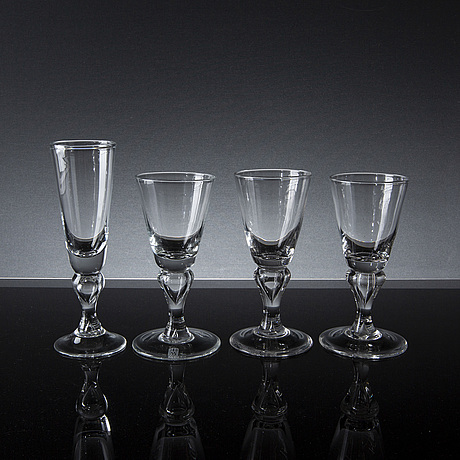A set of champagne and wine glasses, 6 + 16, 'antik' reijmyre sweden, 1970's 80's