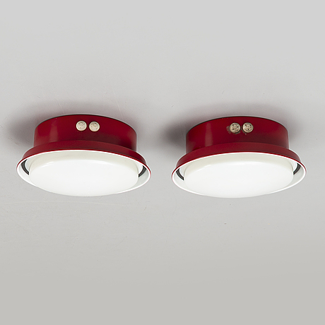 Hans-agne jakobsson, a pair of 1970's ceiling/wall lamps.