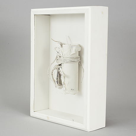 Rune hagberg, mixed media in a wooden box under glass, signed rh.