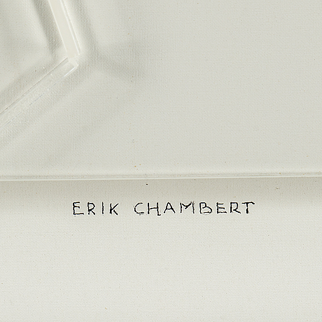 Erik chambert, mixed media in plexi box, signed erik chambert.
