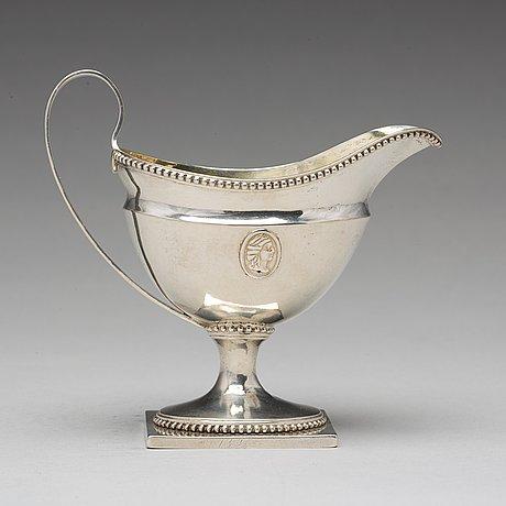 A swedish 18th century parcel-gilt silver cream-jug, mark of petter eneroth, stockholm 1793.
