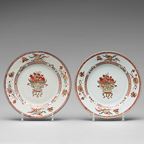 A pair of rouge de fer dinner plate, qing dynasty, yongzheng (1723-35).