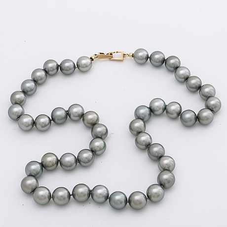 Pearl necklace cultured grey pearls approx 10 10,5 mm, clasp 14k gold