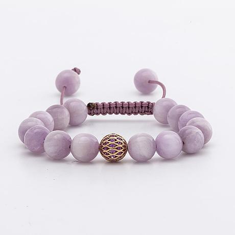 Bracelet kunzite beads approx 10 mm, 1 bead 18k gold w pink sapphires, pink lilac silkchord