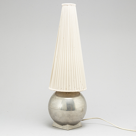 A pewter table lamp by sylvia stave for gab, 1935.