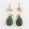 Pear shaped serpentine and brilliant cut diamond earrings