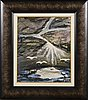 Mauno markkula, oil on wood, signed mm.