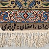 A rug, old esfahan part silk, signerad nabawi, ca 240 x 160 cm