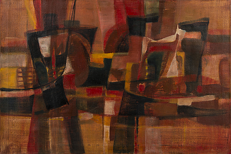 Tapio soukka, 'composition', oil on canvas, not signed