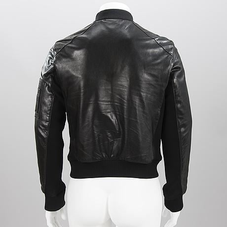 Prada mens black leather jacket.