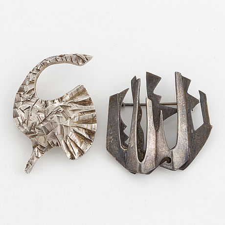 Two rey urban silver brooches.