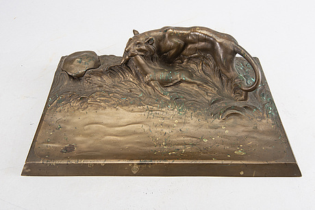 A signed bronze ink stand