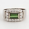 Green tournaline and brilliant cut diamond ring
