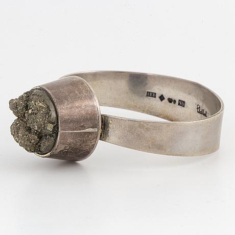 Silver and pyrite bangle, ekeblad, ljungby, 1968.