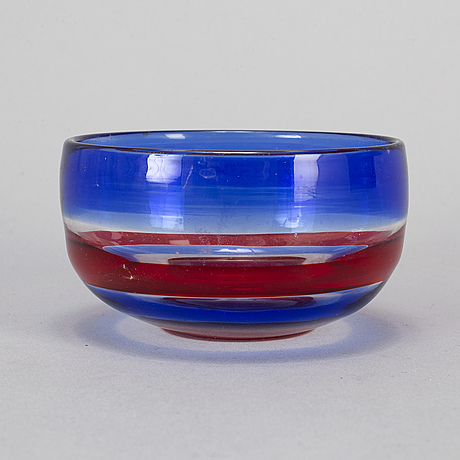 A glass bowl, venini, murano, italy, signed