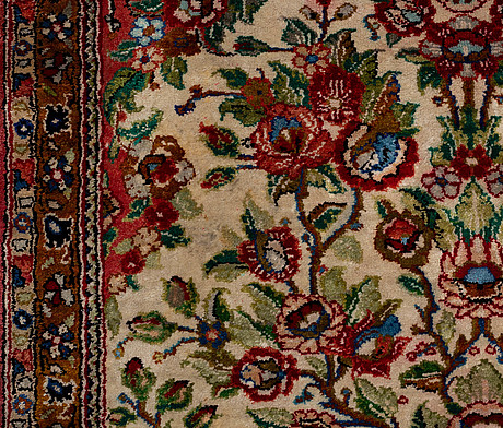 A rug silk qum, around 70 x 55 cm