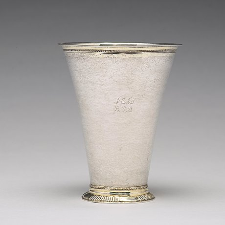A swedish 18th century parcel-gilt silver beaker, mark of christoffer wasserman, lindesberg (1734-1770).