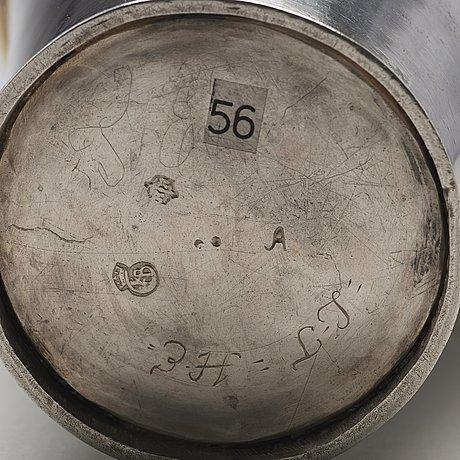 A swedish 18th century parcel-gilt silver beaker, mark of herman hermansson, göteborg 1717.