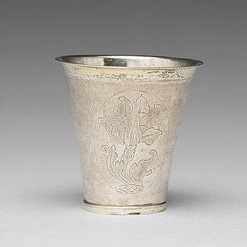 A Swedish 18th century silver beaker, mark of Casimir Friedrich Meidt, Karlskrona 1729.