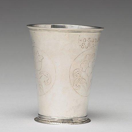 A swedish early 18th century silver beaker, mark of christian dalbeck, kristianstad 1716.