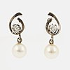 Brilliant cut diamond and cultured pearl earrings