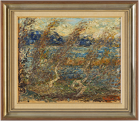 Folke ricklund, oil on panel, signed and dated  48