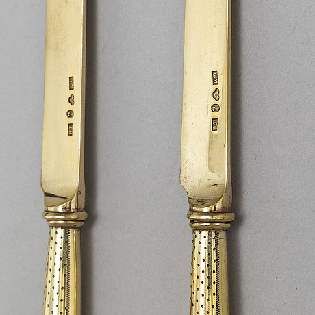 Gustaf mÖllenborg, 12 silver gilt fruit knives from stockholm, 1897