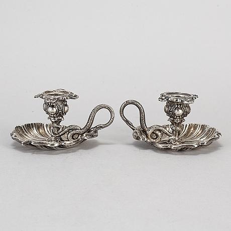 Gustav dahlgren, a pair of silver candlesticks from stockholm, 1852.