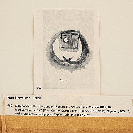 """Friedensreich hundertwasser, composition for """"la lune en rodage i""""."""
