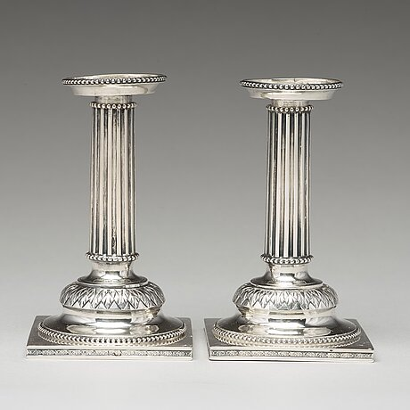 A pair of swedish 18th century silver candlesticks, mark of stephan westerstråhle, stockholm 1793.