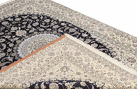 A carpet, nain part silk, s.k 6 laa, 280 x 203 cm