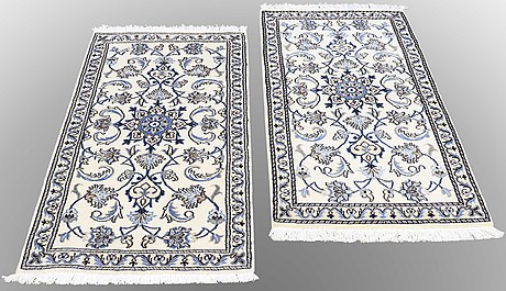 Two rugs from nain, ca 138 x 70 and 140 x 67 cm.