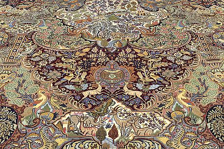 A carpet, figural kashmar, ca 389 x 297 cm