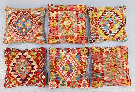 Six kilim cushions, ca 45 x 45 cm.