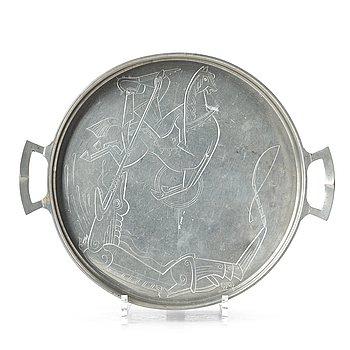 241. Gösta Adrian-Nilsson, an engraved pewter tray, Astrid M Aagesen, Helsingborg Sweden 1920-30's.