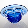 Lars hellsten, a glass vase and bowl, signed and dated