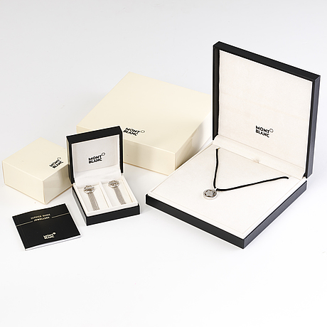 """Montblanc necklace and earrings """"star collection"""" in silver"""