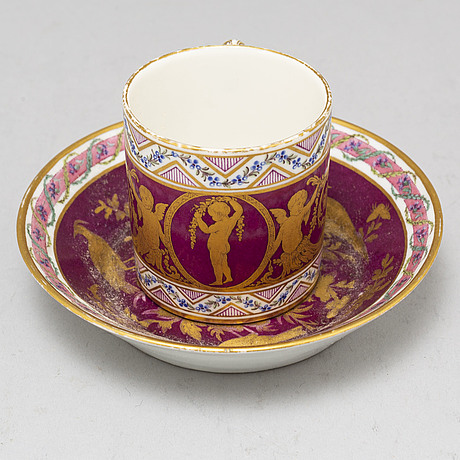 A french cup and saucer, 19th century, with a sevre like mark.