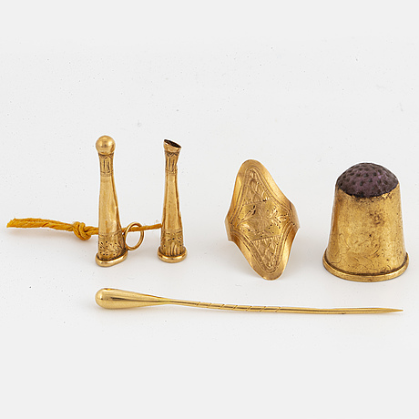 Thimble, pin, ring, and teo pendants/charms, gold.