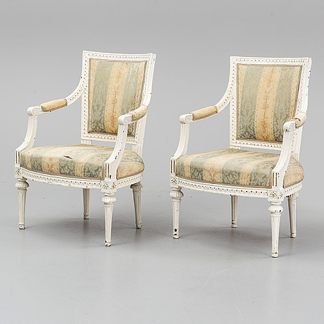 A pair of gustavian armchairs by  ephraim ståhl (master in stockholm 1794-1820), late 18th century.