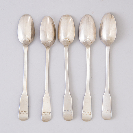 Five coffee spoons, silver sweden middle of the 18th century, possibly mathias grahl, göteborg