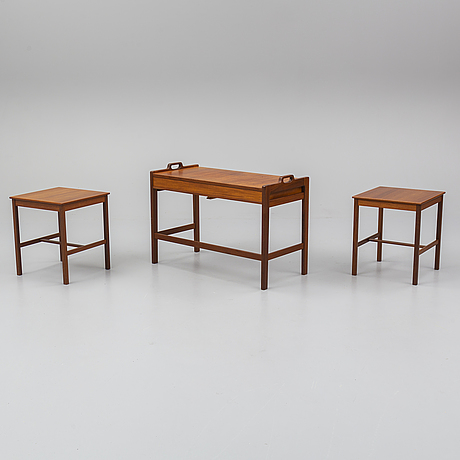 Gunnar myrstrand & sven engstrÖm, a nest of three teak tables, ab skaraborgs möbelindustri, tibro, designed in 1951.