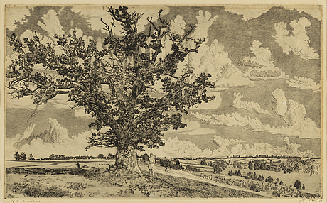 Eduard wiiralt, dry point, signed and dated 1943.