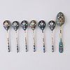 Coffee spoons 6+1, enamel and silver, russia ca 1900