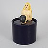 Lisa larson, a glazed stoneware jar with cover, signed